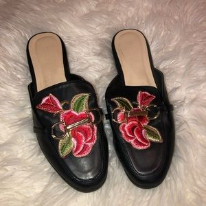 Rose embroidery slip ons